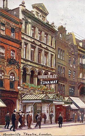 Postcard for the Vaudeville Theatre sent in 1908.