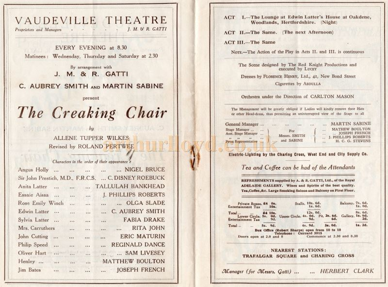 A Programme for 'The Creaking Chair' at the Vaudeville Theatre in 1924 - Courtesy Keith Hopkins.