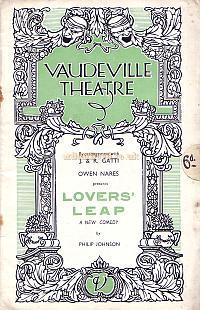 Programme for 'Lover's Leap' at the Vaudeville Theatre in the 1930s, during the management of the Gattis.