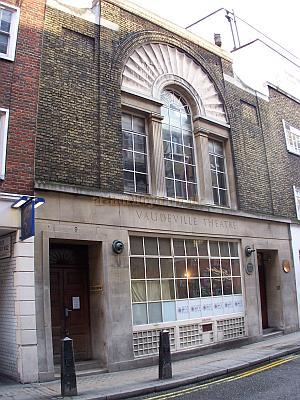 The Stage Door and rear elevation of the Vaudeville Theatre, on Maiden Lane, in October 2006. The alleyway to the left of the picture leads down to the Strand, and about half way down is the Scene Dock Entrance to the stage of the Theatre - Photo M.L.