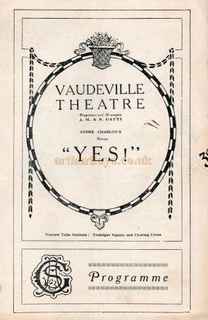 A Programme for 'Yes!' at the Vaudeville Theatre in 1923 - Courtesy Keith Hopkins.