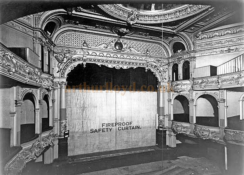 The Auditorium and Stage of Her Majesty's Theatre, Walsall a week before the Theatre's hand over for demolition in 1937 - Courtesy Michael Blakemore.