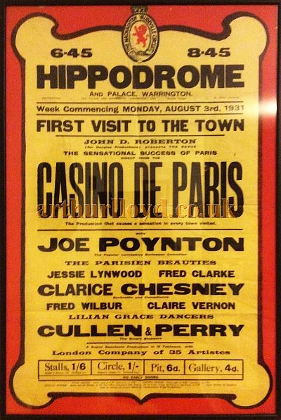 A Poster for 'Casino De Paris' at the Hippodrome and Palace, Warrington in August 1931 - Courtesy Claire Wray whose mother, Claire Vernon, performed in the production.
