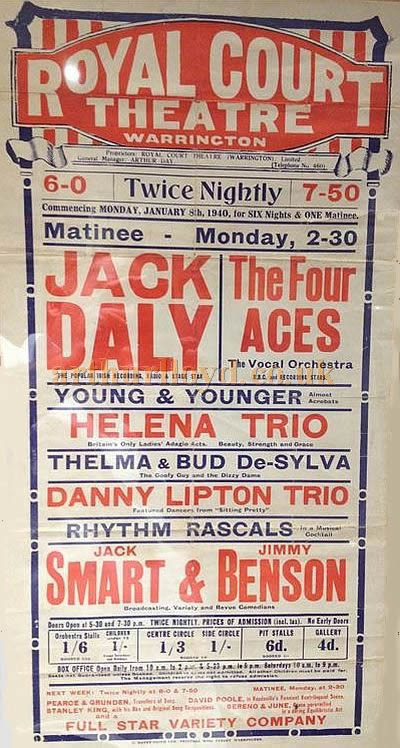 A poster for the Royal Court Theatre, Warrington for Monday January 8th 1940 - Courtesy Alan Barton and Barry Jones, Warrington Memories.