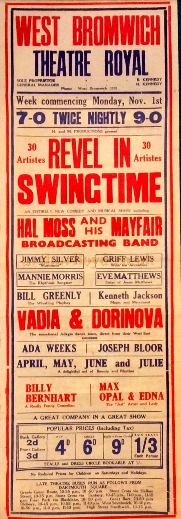 A Poster for 'Revel In Swingtime' at the Theatre Royal, Bromwich in November 1937 - Courtesy Trevor butler.