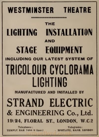 An Advertisement for Strand Electric's Lighting Installation at the Westminster Theatre in 1931 - From The Bioscope, October 21st 1931.
