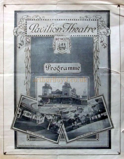 A Programme for the original Pavilion Theatre, Weymouth in 1927 - Courtesy Roy Cross.