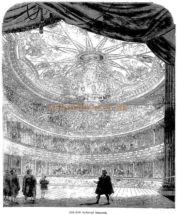 The 1871 Auditorium of the Pavilion Theatre, Whitechapel - From the Penny Illustrated Paper, 23rd of September 1871.