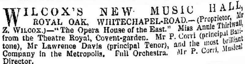 An advertisement for Wilcox's New Music Hall, Whitechapel Road - From the ERA, 12th of May 1872