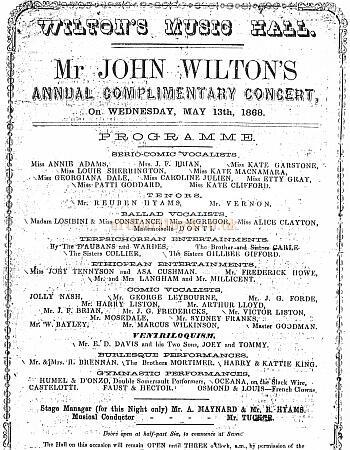 A Wilton's Bill featuring Arthur Lloyd and his future wife, Kattie King from 1868.