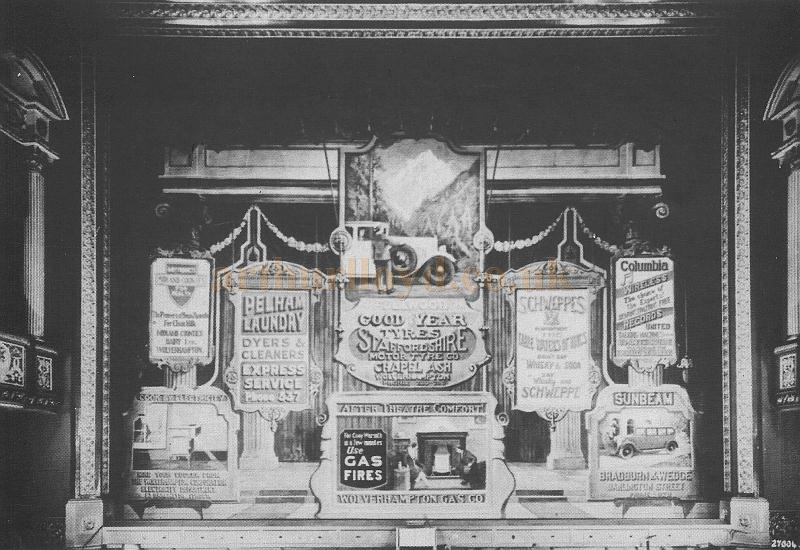 An early Advertising Curtain across the stage of the Wolverhampton Grand Theatre - Courtesy David Garratt.
