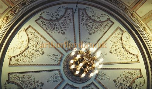 The auditorium ceiling of C. J. Phipps' Grand Theatre, Wolverhampton in 2002 - Courtesy David Garratt
