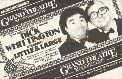 A Bill for Little and Large in 'Dick Whittington' at the Grand Theatre, Wolverhampton in 1985 - Courtesy David Garratt.