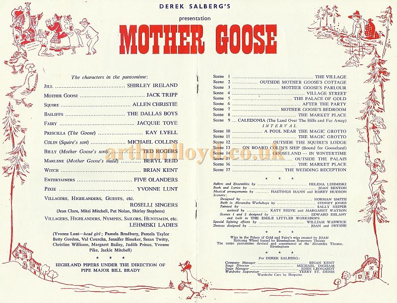 A programme for ' Mother Goose' at the Wolverhampton Grand in 1963 - Courtesy David Garratt.