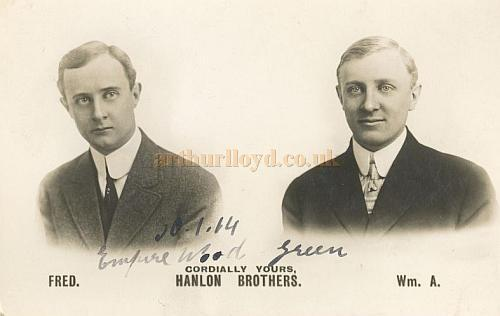 A 1914 Postcard from the Wood Green Empire of The Hanlon Brothers - From the Rose Burlingham collection - Courtesy The estate of Bob Capon.
