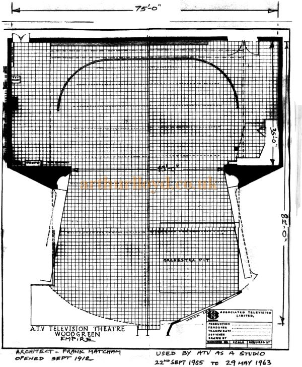 A plan of the ATV Televison Theatre at the Wood Green Empire from 1955 to 1963 - From a document by Television Designer Richar Greenough Courtesy Roger Fox.