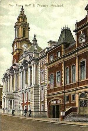 The Town Hall and Theatre, Woolwich - From a postcard.