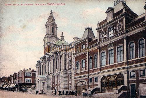 The Grand Theatre and Town Hall, Woolwich - From a Postcard posted in 1913