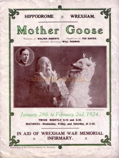 A Programme for 'Mother Goose' at the Wrexham Hippodrome in January 1924.