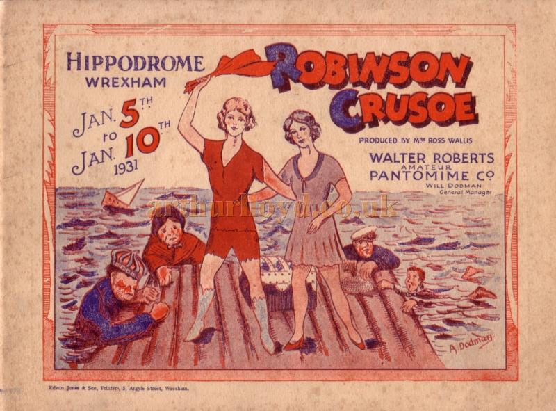 A programme for 'Robinson Crusoe' at the Wrexham Hippodrome in January 1931