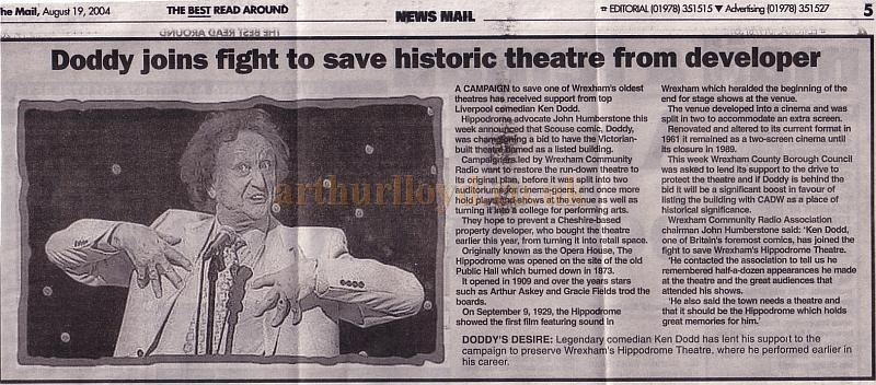 Doddy joins the fight to save historic theatre from developer - A local newspaper cuttings on the Campaign to save the Wrexham Hippodrome - August 19th 2004