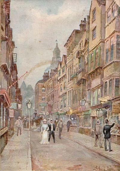 Holywell Street, Strand, demolished 1902-1903 - From a 'Vanished London' Postcard.