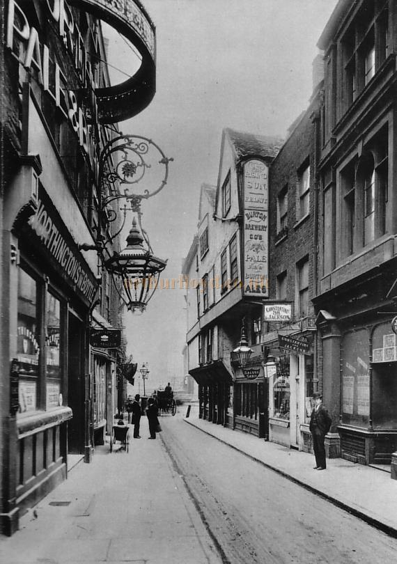 Wych Street in 1901, shortly before being demolished - From a postcard.