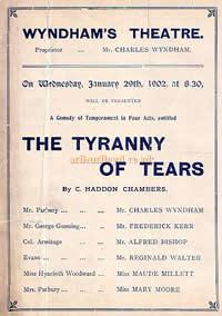 Programme for 'Tyranny of Tears' at the Wyndham's Theatre January 29th 1902.