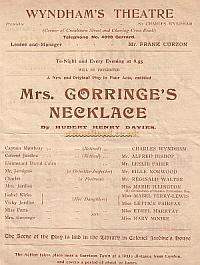 Programme for 'Mrs. Gorringe's Necklace' at the Wyndham's Theatre 1902.