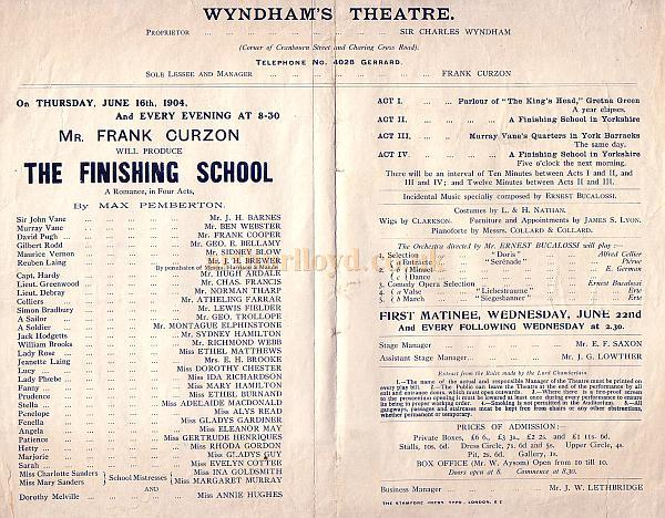 Programme detail for 'The Finishing School' at the Wyndham's Theatre June 16th 1904.