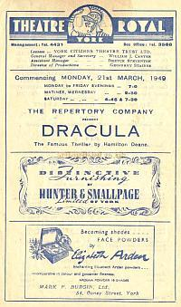 Programme for 'Dracula' at the Theatre Royal, York in March 1949 - Courtesy Alan Chudley.